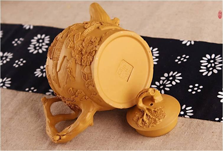 Relief Sculpture Zisha Clay Teapot Chinese Gongfu Teapot Handmade Teapot Guaranteed 100%Genuine Original Mineral Fire