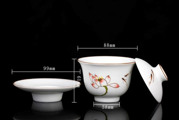 Hand-Painting And Handmade White Porcelain Imperial Style Gaiwan Chinese Style Ceramic Teaware
