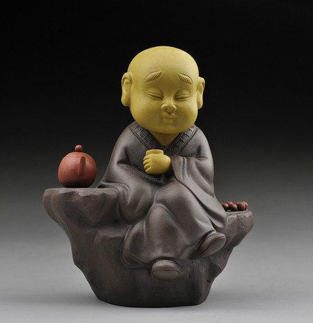 Tea Toy-Zen Monk Chinese Gongfu Tea Set Yixing Pottery Handmade Zisha Tea Set Guaranteed 100%Genuine Original Mineral Fired