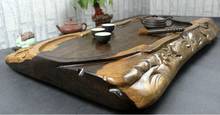 Ebony Wood Tea Tray Displaying And Serveing Tea Tea Tray Handicraft Chinese Kung-Fu Tea Set Chinese Teaism Practice.