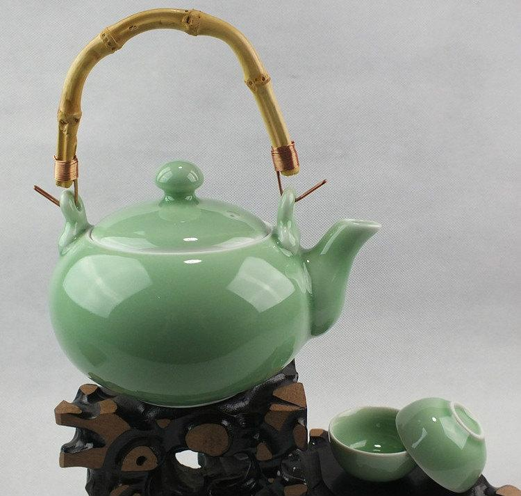 Celadon Porcelain Handmade Tea Pot And Tea Cup Di Kiln Tea Ware Chinese Antique Ceramics Porcelains Famous Porcelain Kilns