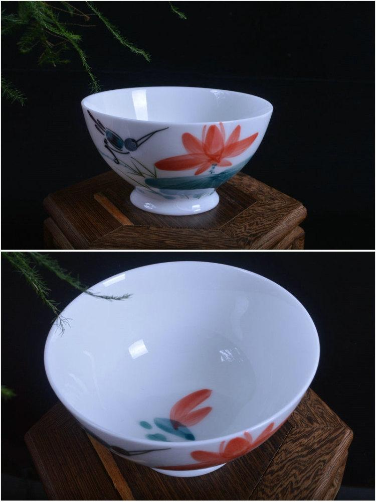 6 Hand-Painting Flowers Pattern Blue And White Ceramic Tea Bowl Chinese Blue And White Porcelain Tea Set Chinese Style Ceramic Teaware