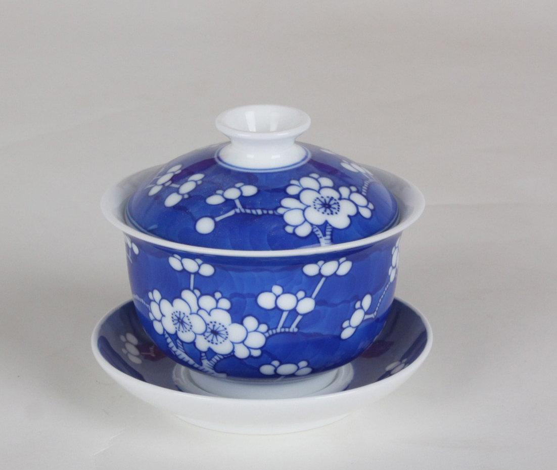 Hand-Painting And Handmade Blue And White Porcelain Imperial Style Gaiwan Chinese Style Ceramic Teaware